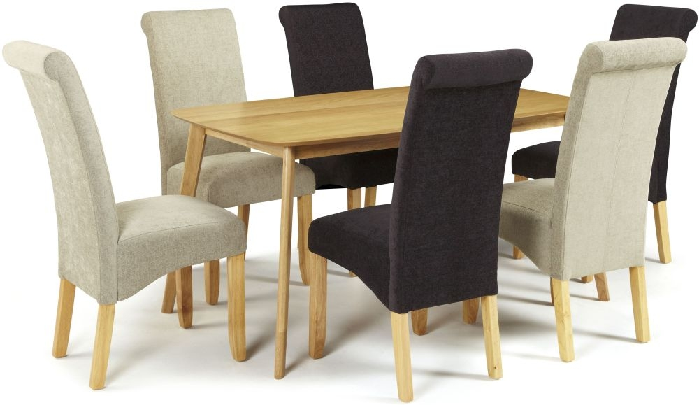 Serene Westminister Oak Dining Set - 150cm with 3 Kingston Aubergine Plain and 3 Sage Plain Chairs