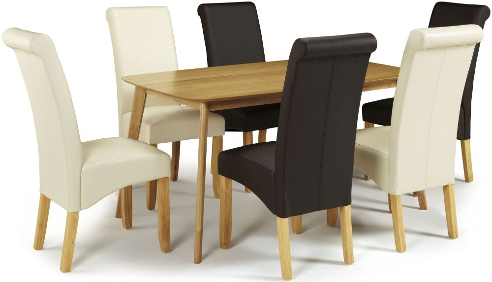 Serene Westminister Oak Dining Set - 150cm with 3 Kingston Brown and 3 Cream Faux Leather Chairs
