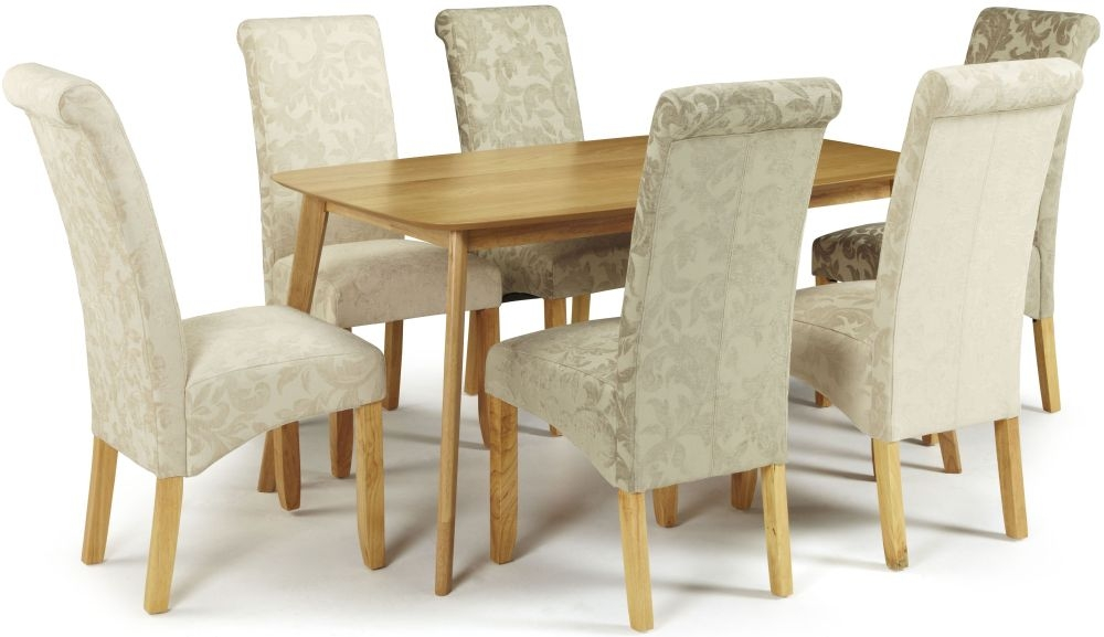 Serene Westminister Oak Dining Set - 150cm with 3 Kingston Cream Floral and 3 Sage Floral Chairs