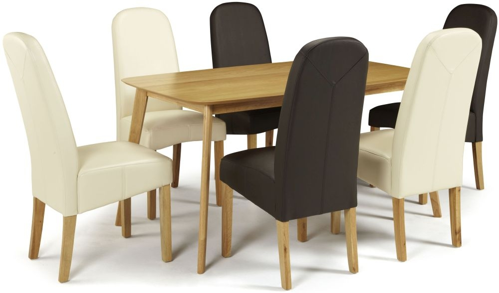 Serene Westminister Oak Dining Set - 150cm with 3 Marlow Cream and 3 Brown Faux Leather Chairs