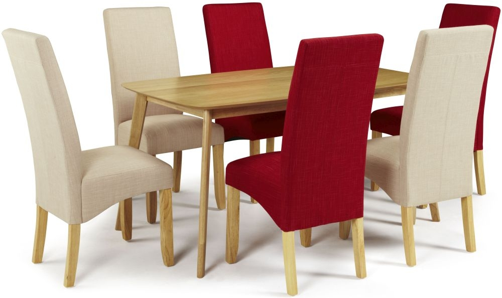 Serene Westminister Oak Dining Set - 150cm with 3 Merton Scarlet and 3 Stone Chairs