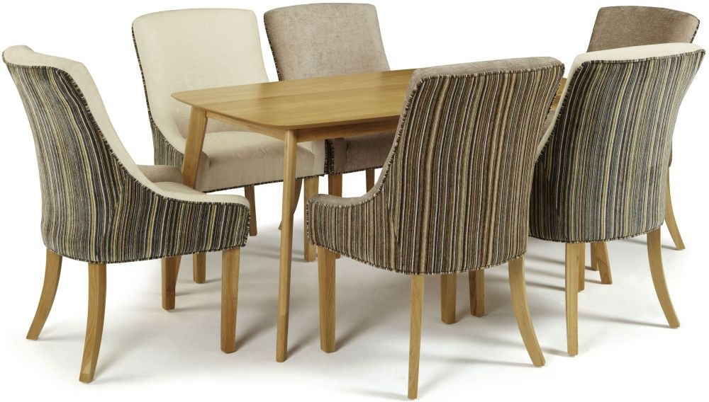 Serene Westminister Oak Dining Set - 150cm with 3 Richmond Aubergine Pearl and 3 Sand Mink Chairs