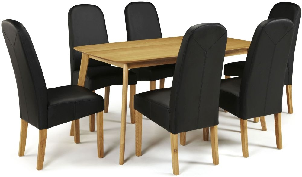 Serene Westminister Oak Dining Set - 150cm with 6 Marlow Black Faux Leather Chairs
