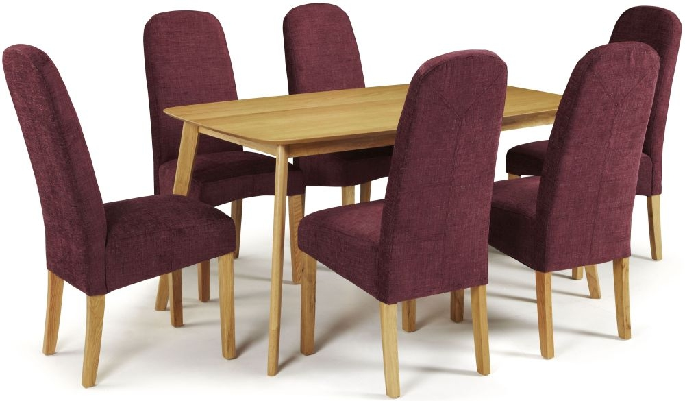 Serene Westminister Oak Dining Set - 150cm with 6 Marlow Shiraz Chairs