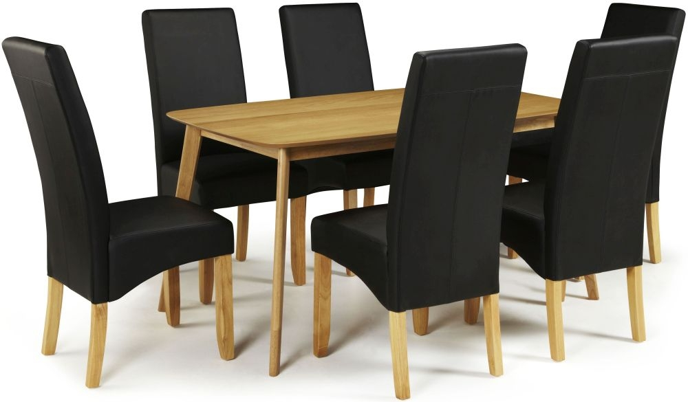 Serene Westminister Oak Dining Set - 150cm with 6 Merton Black Faux Leather Chairs