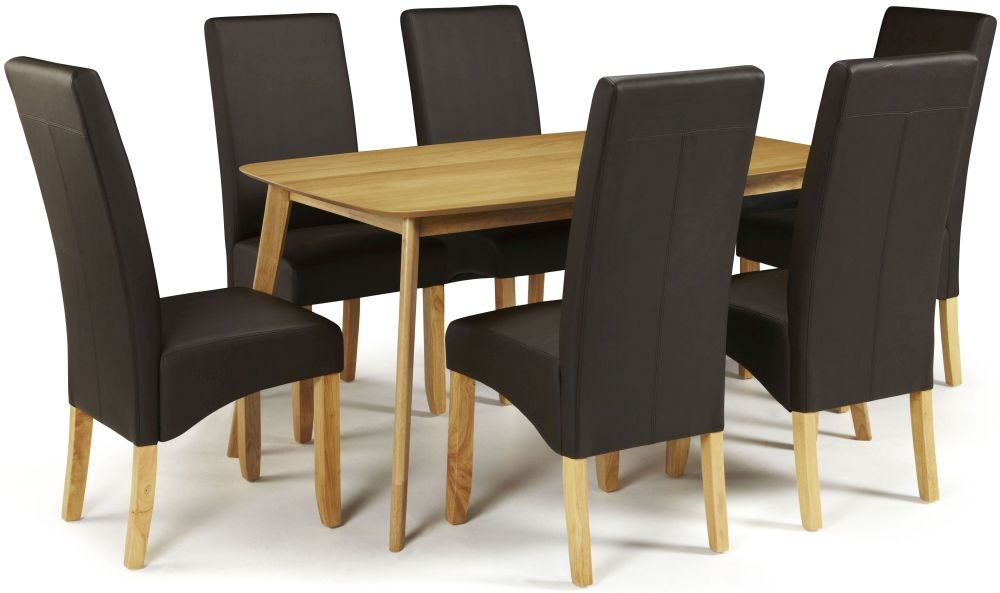 Serene Westminister Oak Dining Set - 150cm with 6 Merton Brown Faux Leather Chairs
