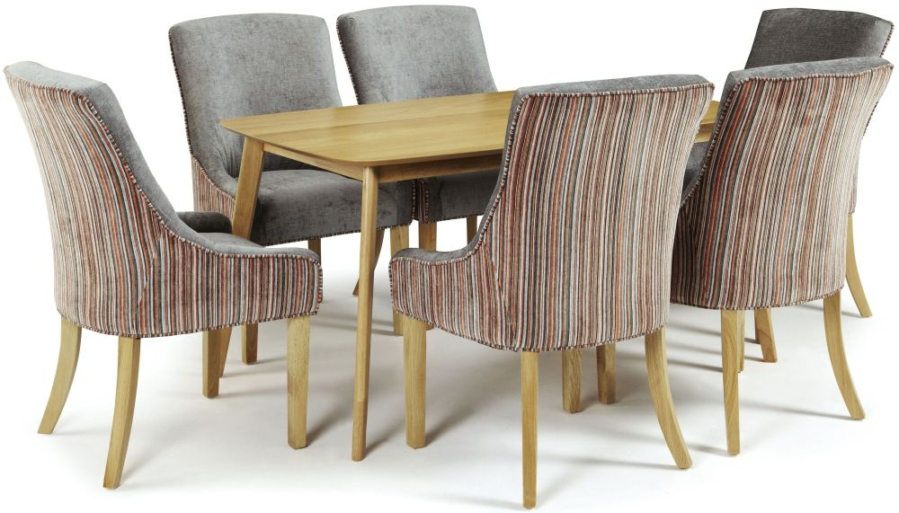 Serene Westminister Oak Dining Set - 150cm with 6 Richmond Orange Steel Chairs
