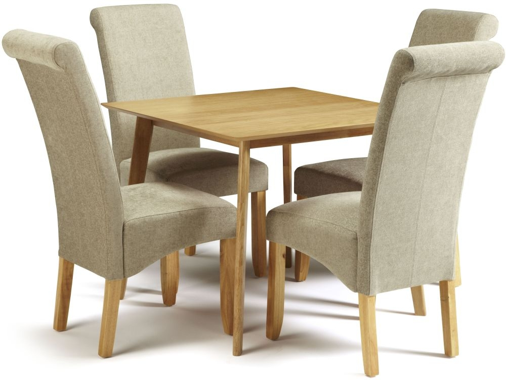 Serene Westminister Oak Dining Set - 90cm with 4 Kingston Sage Plain Chairs