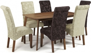 Serene Westminister Walnut Dining Set - 150cm Fixed Top with 3 Kingston Aubergine Floral and 3 Sage Floral Chairs