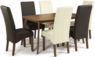Serene Westminister Walnut Dining Set - 150cm Fixed Top with 3 Merton Brown and 3 Cream Faux Leather Chairs