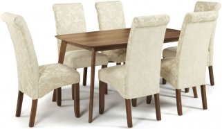 Serene Westminister Walnut Dining Set - 150cm Fixed Top with 6 Kingston Cream Floral Chairs