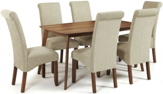 Serene Westminister Walnut Dining Set - 150cm Fixed Top with 6 Kingston Sage Plain Chairs
