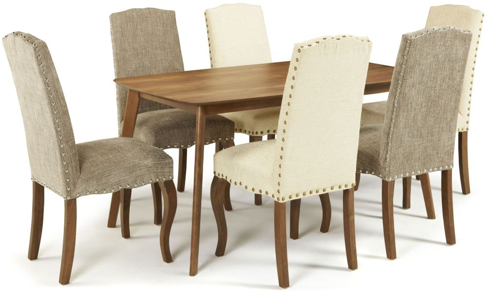 Serene Westminister Walnut Dining Set - 150cm Fixed Top with 3 Kensington Bark and 3 Pearl Chairs
