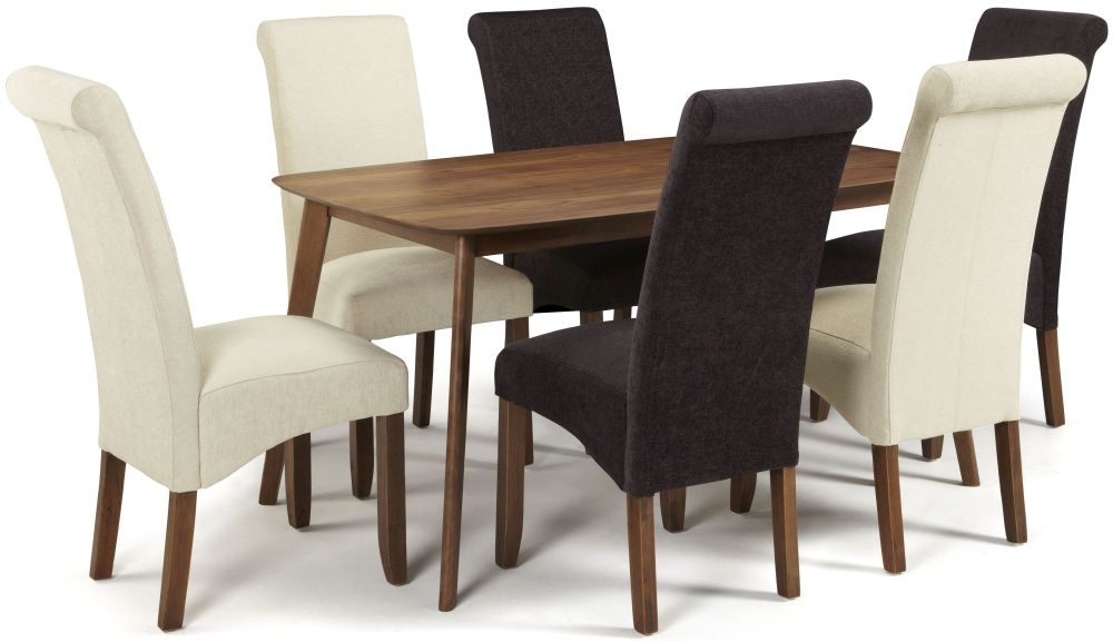 Serene Westminister Walnut Dining Set - 150cm Fixed Top with 3 Kingston Aubergine Plain and 3 Cream Plain Chairs
