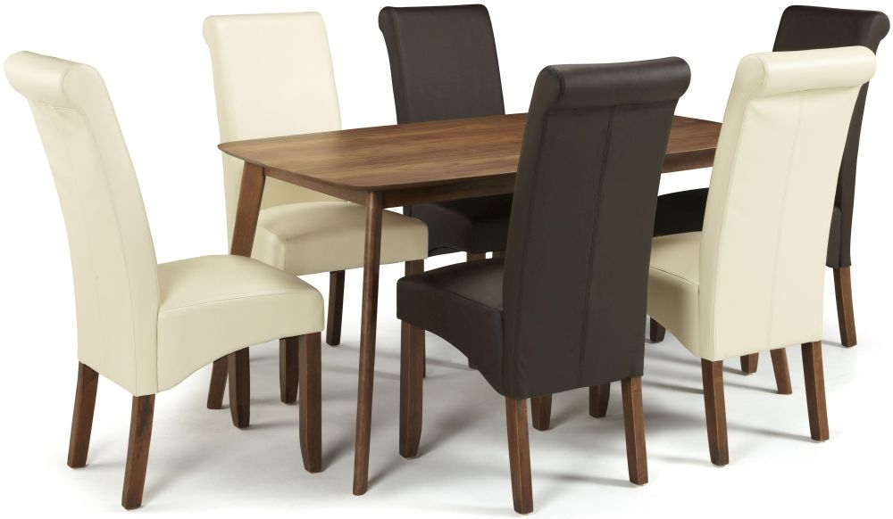 Serene Westminister Walnut Dining Set - 150cm Fixed Top with 3 Kingston Brown and 3 Cream Faux Leather Chairs