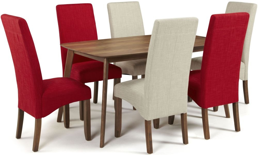 Serene Westminister Walnut Dining Set - 150cm Fixed Top with 3 Merton Linen and 3 Scarlet Chairs