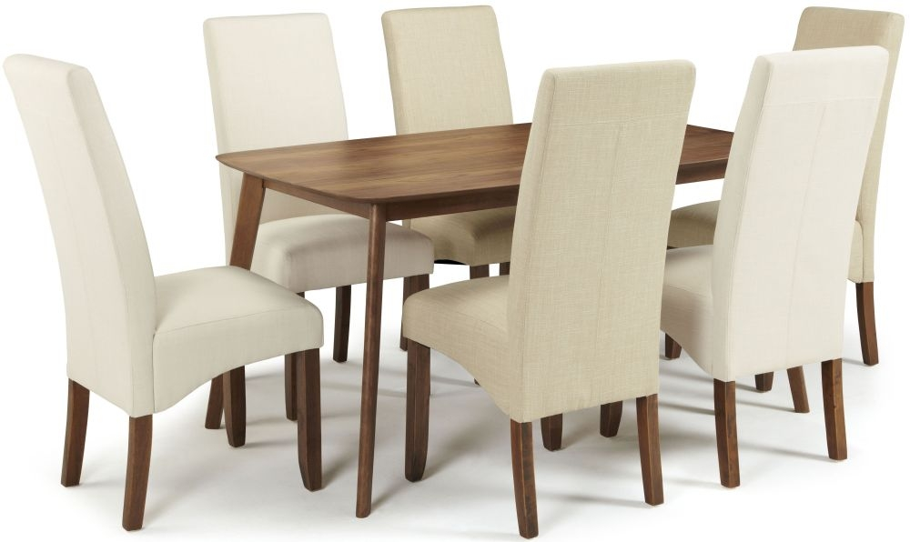 Serene Westminister Walnut Dining Set - 150cm Fixed Top with 3 Merton Putty and 3 Stone Chairs