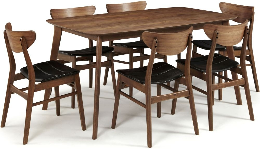 Serene Westminister Walnut Dining Set - 150cm Fixed Top with 6 Camden Walnut Chairs