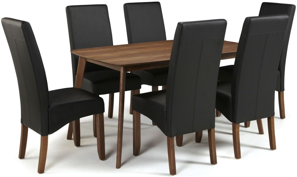 Serene Westminister Walnut Dining Set - 150cm Fixed Top with 6 Merton Black Faux Leather Chairs