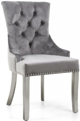 Shankar Chester Grey Brushed Velvet and Polished Stainless Steel Knockerback Accent Chair