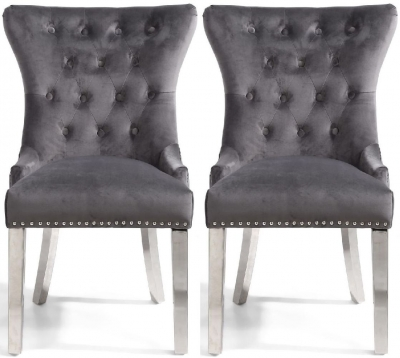 Shankar Lionhead Grey Brushed Velvet and Polished Stainless Steel Knockerback Accent Chair (Pair)