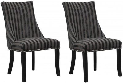 Shankar Balmoral Velvet Stripe Chair - Charcoal (Pair)