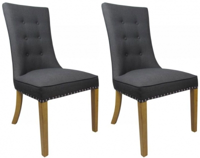 Shankar Newbury Fabric Chair - Charcoal (Pair)