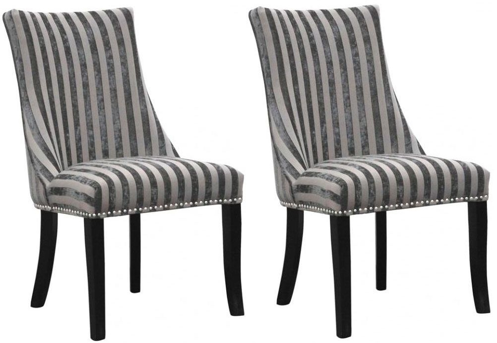 Shankar Balmoral Velvet Stripe Chair - Mink (Pair)