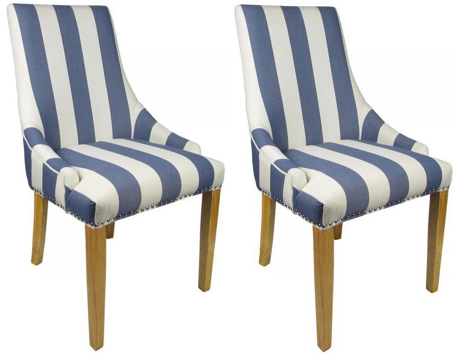 Shankar Compton Stripe Chair - Blue (Pair)