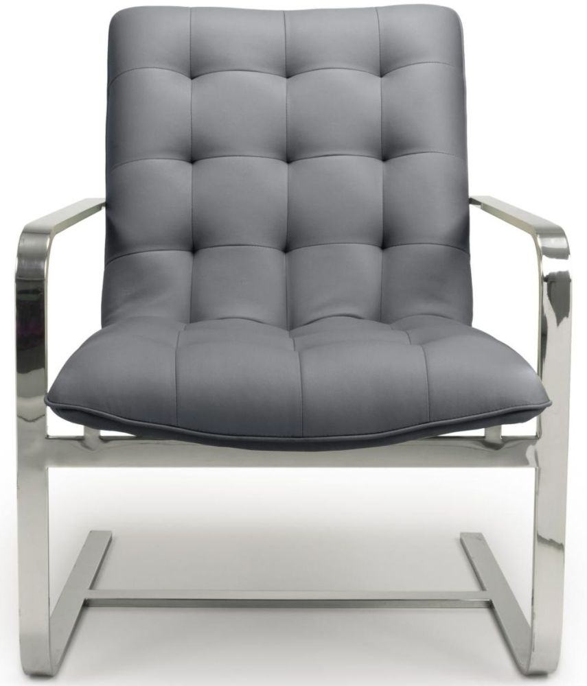 Shankar Logan Cantilever Graphite Grey Leather Match Tufted Accent Armchair