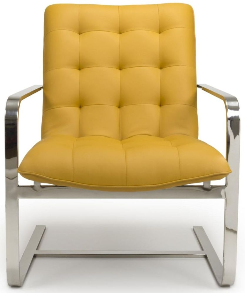 Shankar Logan Cantilever Yellow Leather Match Tufted Accent Armchair