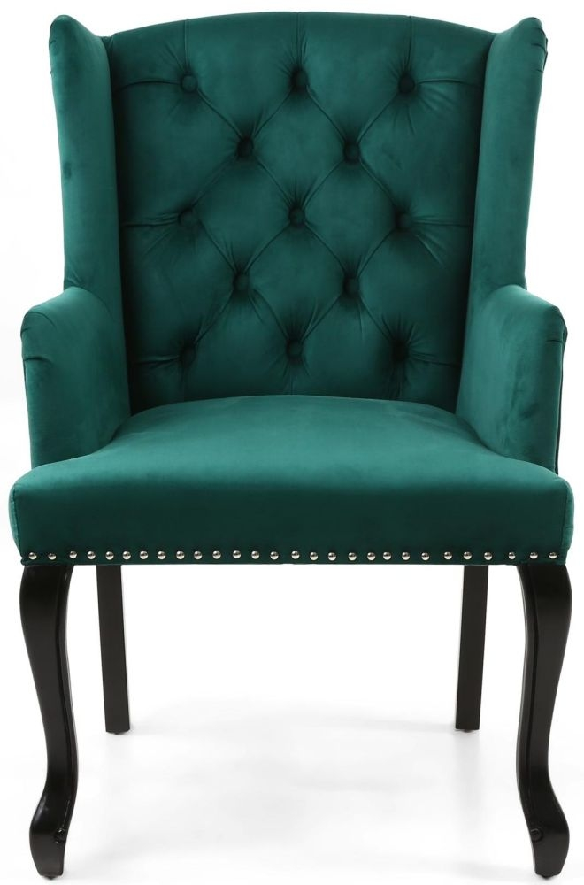 Shankar Maison Green Brushed Velvet Tufted Knockerback Accent Armchair