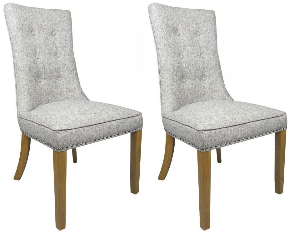 Shankar Newbury Weave Fabric Chair - Grey (Pair)