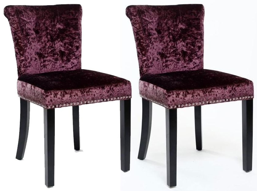 Shankar Sandringham Crushed Velvet Dining Chair - Grape (Pair)