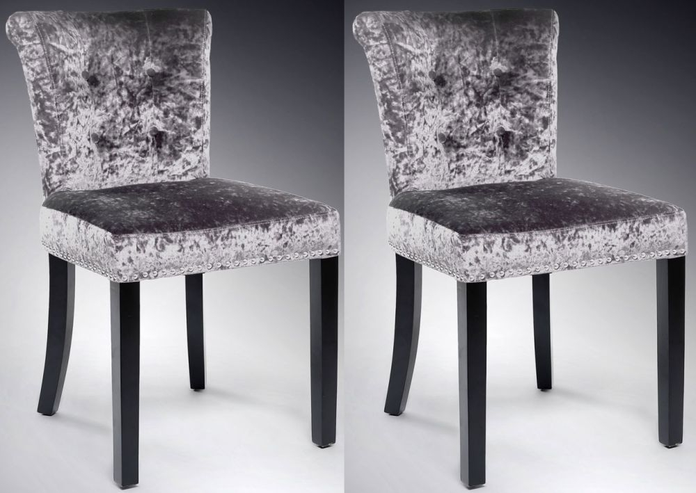 Shankar Sandringham Crushed Velvet Dining Chair - Silver (Pair)