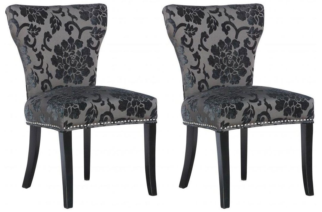 Shankar Windsor Baroque Fabric Chair - Charcoal (Pair)