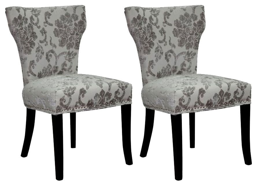 Shankar Windsor Baroque Fabric Dining Chair - Mink All Over (Pair)