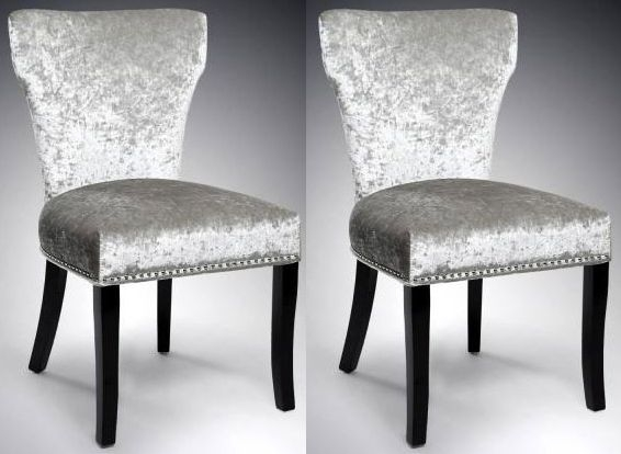 Shankar Windsor Crushed Velvet Dining Chair - Silver (Pair)