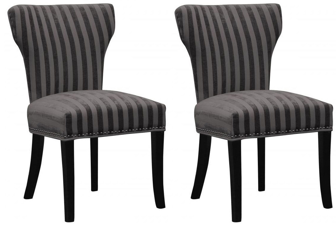 Shankar Windsor Velvet Stripe Chair - Charcoal (Pair)