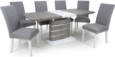 Shankar Atlas Grey and White Granite Effect 140cm-180cm Extending Dining Table with 4 Randall Silver Grey Linen Effect Dining Chairs