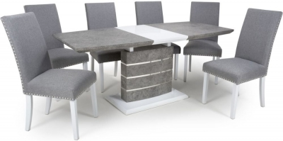 Shankar Atlas Grey and White Granite Effect 140cm-180cm Extending Dining Table with 6 Randall Silver Grey Linen Effect Dining Chairs