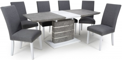 Shankar Atlas Grey and White Granite Effect 140cm-180cm Extending Dining Table with 6 Randall Steel Grey Linen Effect Dining Chairs