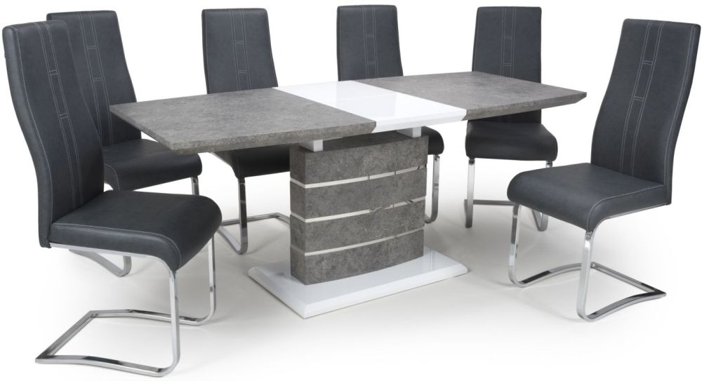 Shankar Atlas Grey and White Granite Effect 140cm-180cm Extending Dining Table with 4 Nova Cantilever Dark Grey Dining Chairs