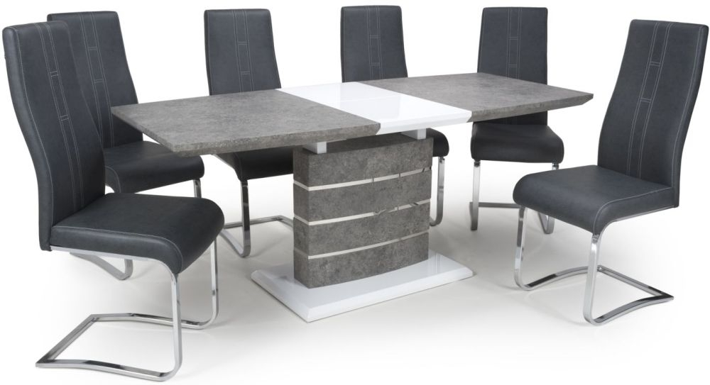 Shankar Atlas Grey and White Granite Effect 140cm-180cm Extending Dining Table with 6 Nova Cantilever Dark Grey Dining Chairs