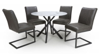 Shankar Avesta 3D Printed Grey Glass Round Dining Table and 4 Archer Grey Faux Leather Chairs