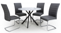 Shankar Avesta 3D Printed Grey Glass Round Dining Table and 4 Callisto Black Leather Chairs
