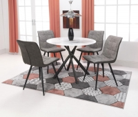 Shankar Avesta 3D Printed Grey Glass Round Dining Table and 4 Rodeo Light Grey Chairs