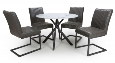 Shankar Avesta White Glass Round Dining Table and 4 Archer Grey Faux Leather Chairs