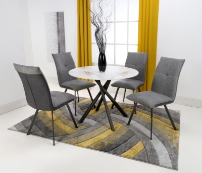 Shankar Avesta White Glass Round Dining Table and 4 Ariel Light Grey Chairs