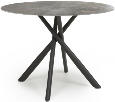 Shankar Avesta Grey Marble Effect Round Dining Table